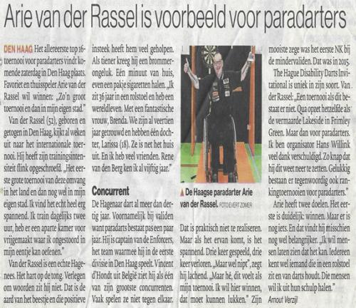 Arie van der Rassel is voorbeeld paradarters